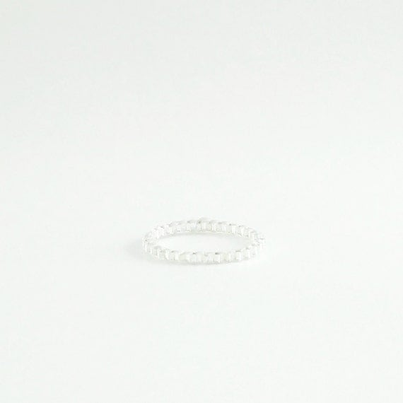Whisper Silver Ring, Stacking Silver Ring, Silver Beaded Ring, Silver Skinny Ring, Silver Knuckle Ring, Minimalist, Modern, Simple, Romantic