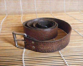 """Vintage Distressed Brown Leather Narrow Belt Fits from 30"""" to 36"""" waist"""