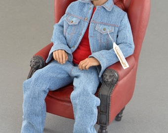 1/6th scale blue denim jeans jacket for male action figures and fashion dolls