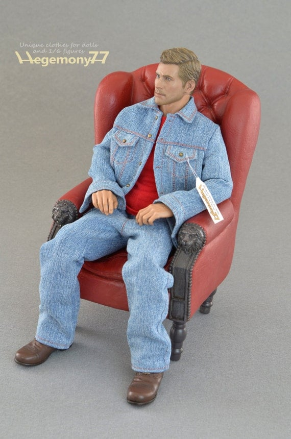 1/6th scale blue denim jeans jacket for collectible movable action figures and male fashion dolls