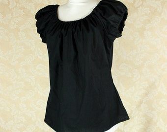 """Black Cotton Willow Chemise -- Sz. S -- Fits Bust 33""""-36"""" --  Ready to Ship"""