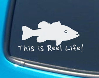 Large Mouth Bass Reel Life Vinyl Car Decal - Many Color Choices
