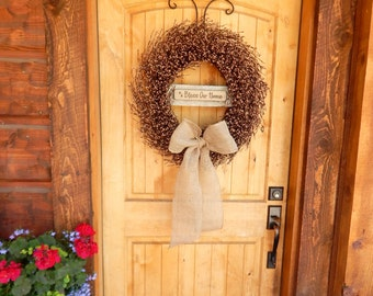 Fall Wreath-Fall Decor-BLESS OUR HOME-Door Wreaths-Large Burlap Wreath-Fall Door Decor-Rustic Home Decor-Autumn Decor-Custom Made Gifts