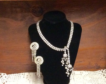 Mid Century Vintage Marvella Rhinestone Necklace and Earrings