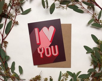 "Mid Century Modern 70's style ""I Love You"" Greeting Card"