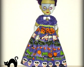 """Handmade Halloween Dress for 10"""" Living Dead Dolls, Orange Purple Black Outfit, Doll Clothes for Adult Collectors, by traveller240"""