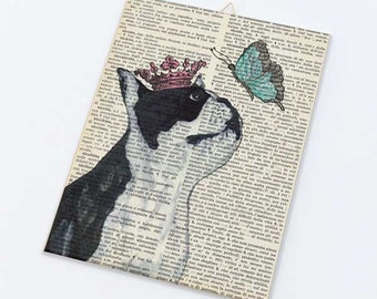 Boston terrier princess playing with butterfly Canvas board-Funny dog canvas panel-Dog wall art-Humor animal art-by NATURA PICTA CB014