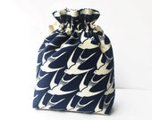 Fabric Bag, Home Storage, Drawstring Bag, Travel Bag, Fully Lined, Flying Birds, Navy and Cream