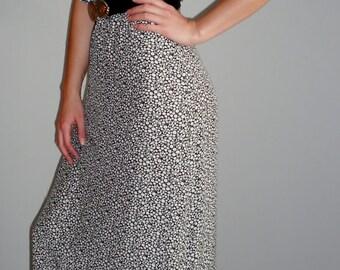 90's Floral Frill Ditsy Black White Maxi Full Length Sleeveless Vintage Dress UK seller