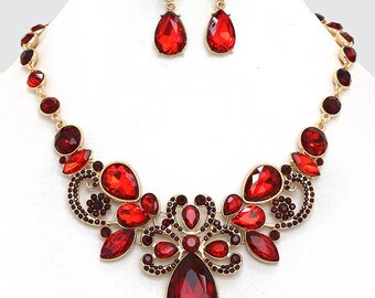 Wedding jewelry set ,bridal jewelry set, Bridal necklace earrings, vintage inspired jewelry, chunky fashion Siam red crystal jewelry set