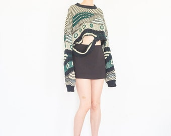 Up Cycle Cropped Deconstructed Sweater