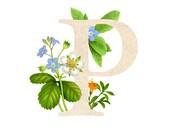 P - Floral letter - Floral print - Monogram letters - ABCs Wall Decor - floral alphabet