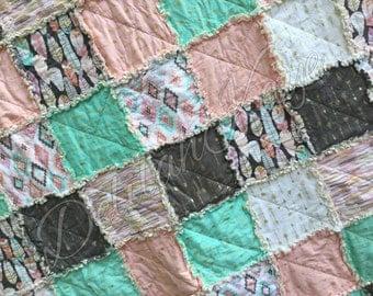 King Size Rag Quilt - Arrow Flight - Mint - Gray - Blush - Metallic - Modern Handmade Bedding