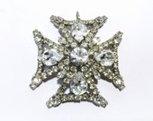 Huge Rhinestone Maltese Cross Pendant Gorgeous Antique Art Deco Retro Fashion Jewelry