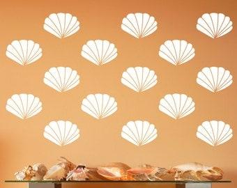 Scallop Seashells | Vinyl Wall Decals | Scallop Shells | Nautical Wall Decals | Beach Decor | Beach Wall Decals 22577