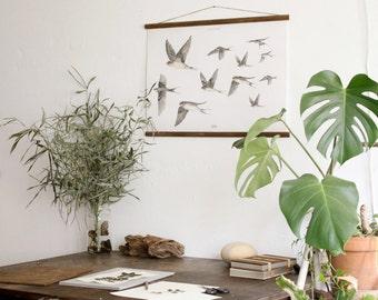 Andorinhas - flying swallows poster - handmade vintage inspired bird illustration art print ANDPA2002