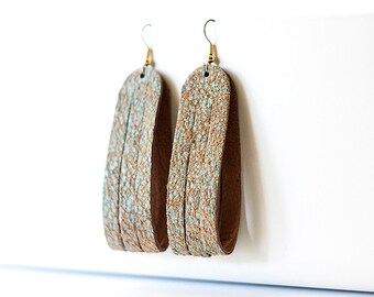 Leather Earrings / Sliced Leather / Vintage Turquoise