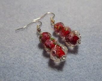 Red Lampwork Silver Plated Graduated Bead Earrings