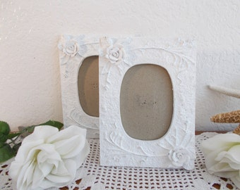 White Shabby Chic Rose Floral Picture Frame Up Cycled Vintage Wedding Photo Decoration Beach Cottage French Country Farmhouse Home Decor
