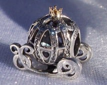 "Pandora ""Cinderellas Pumpkin"" Coach High Fashion Disney Genuine Designer Bracelet Glam Charm FREE SHIPPING Plush Hinged Gift Box Included"