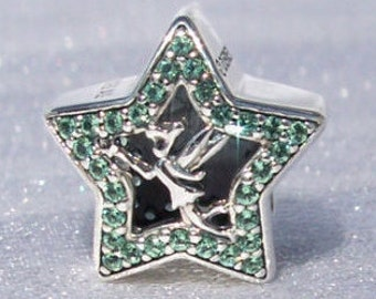 Authentic Pandora, Disney, Tinker Bell Star, Bracelet Charm, Green Cz, 925 ALE, Sterling Silver, Tinkerbell, Gift Ideas, FREE SHIPPING