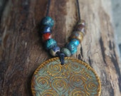 Rustic boho stone wear necklace - Urban tribal spiral necklace - 24 Inches (or longer if desired)