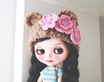 Bear hat. Ear hat for newborn prop. ooak Blythe bear hat. Blythe accessories. Blythe doll hat. Camel bear, caramel bear hat