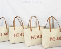 6 Canvas Totes - Wedding Package for Bridesmaids - BEACH Bag size - CUSTOMIZED French Knot Stitched Letters - Color CUSTOMIZABLE