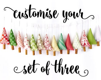 Rustic Handmade Christmas Tree Ornament Cinnamon Decoration Customised Set of 3 Holiday Ornament