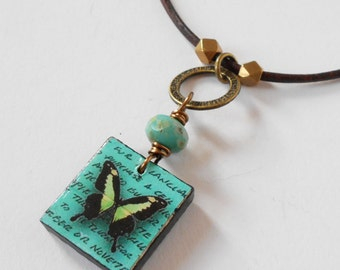 turquoise butterfly necklace, wooden pendant necklace, leather necklace, bohemian, unique everyday necklace, boho jewelry, gift for her