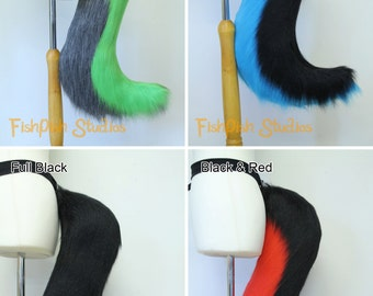 Standard Wolf Fursuit Cosplay Tail - Black and White or with Rainbow - Great for Costumes canine dog kitty cat neko