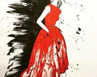 Red Dress - Fashion Illustration, Ink Sketch Drawing, Pen and Ink, Pastel, Fine Art Print, Giclee, Original Art, Female Figure Sketch