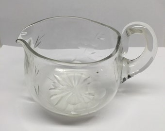 Creamer Pressed Glass Etched floral motif