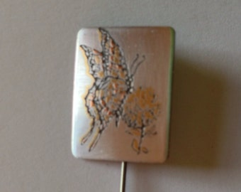 Stick Pin Reed & Barton Damascene Butterfly and Flower Bridesmaid Gift Gifts for Her