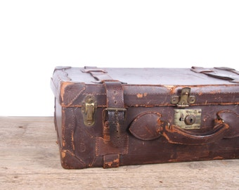 Antique Brown Leather Suitcase Luggage / Vintage Suitcase / Old Suitcase / Antique Suitcase / Vintage Luggage Bag / Old Leather Suitcase