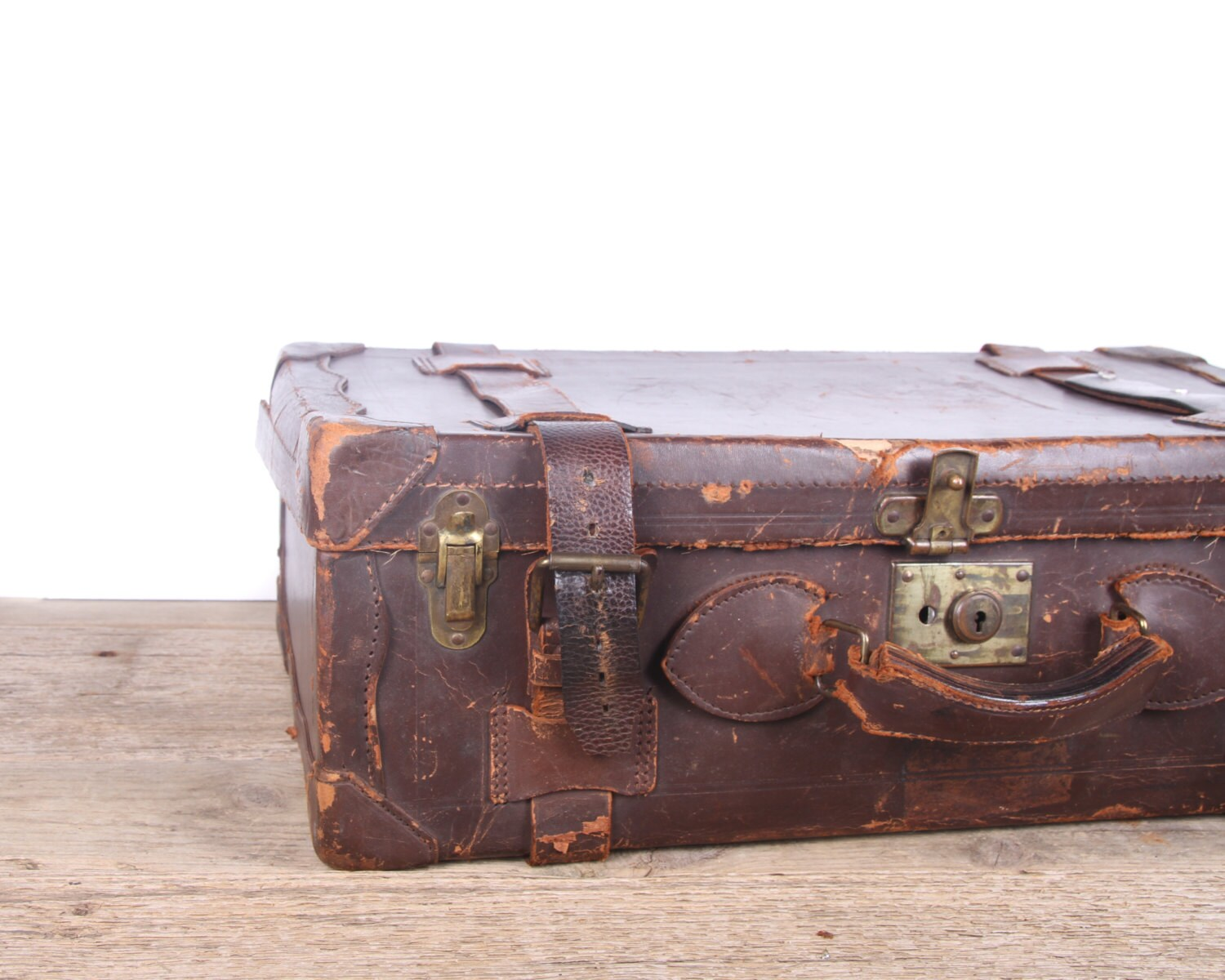 Antique Brown Leather Suitcase Luggage / Vintage Suitcase / Old ...