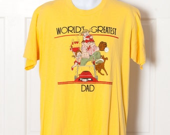 Vintage WORLD'S GREATEST DAD Yellow Tshirt - xl