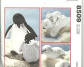 McCalls Craft Pattern 8509 Mother and Baby Plush Stuffed Polar Animals Bear Penguin Seal UNCUT