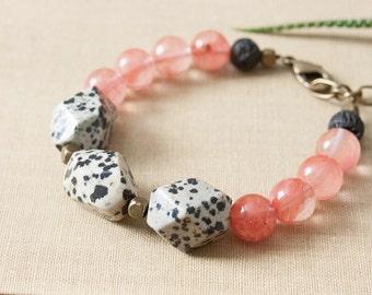 SALE Dalmatian Jasper Cherry Quartz Bracelet Lava Beads Chunky Beaded Bracelet Black White Pink Bracelet Brass Polkadots Polka Dots