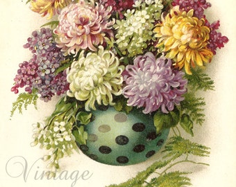 Chrysanthemums Mums & Lilacs Bouquet in Vase Antique French Postcard Chromolithograph Chromo Post Card from Vintage Paper Attic
