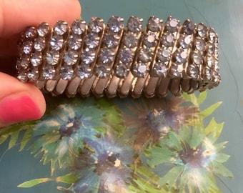 Blue Rhinestone Cuff Bracelet 1950s