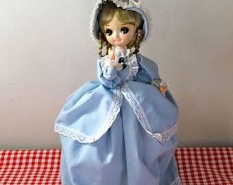 vintage 1960s bradley doll - BIG EYE doll -blue dress