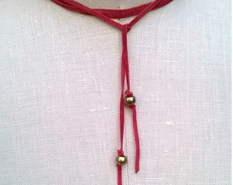 Genuine Suede Red Wrap Necklace - Boho Chic 52 Inch Wraparound Choker Necklace with Brass Beads - Western Southwestern Style