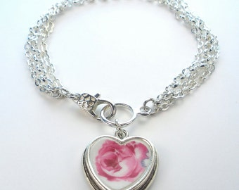 Pink Rose Floral Charm Bracelet Vintage 'Broken China' Porcelain Jewelry by Charmedware