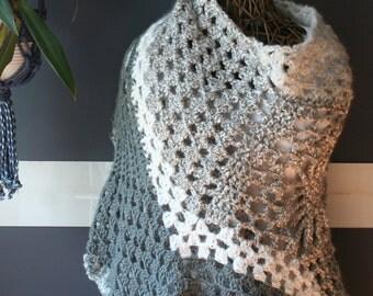Crochet Shawl,Knit Shawl,Wrap,Cape,Poncho,Coat,Hippie Clothes,Boho Chic,Gypsy Clothing,Womens Clothing,One Size,Grey,White,Silver,Fringe,Big