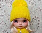 Yellow Pom Pom Blythe Hat and Cardigan Set