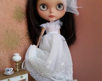 White Polka Dot Tulle Blythe Dress and Petticoat Set | Pullip Dress