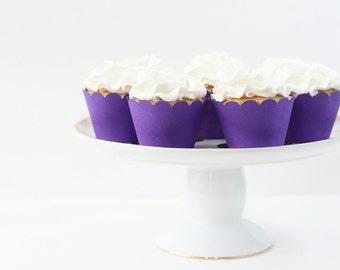 Purple Cupcake Wrappers Purple Party Supplies Cupcake Liners Girls Birthday Party Girl Baby Shower Cupcake Wrappers Purple Party / Set of 12