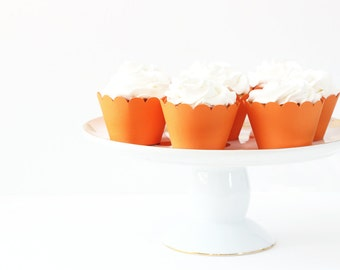 Orange Cupcake Wrappers Orange Party Supplies Cupcake Liners Halloween Cupcake Orange Birthday Party Decor Tangerine Muffin Cups / Set of 12