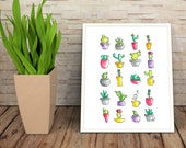 Colorful grid of Succulents & Pots 8 x 10 cactus watercolor painting